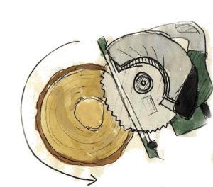 丸ノコで廃材処分 カッパドローリング